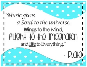 "Inspirational Music Poster - Plato - ""Music gives a soul..."