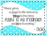 """Inspirational Music Poster - Plato - """"Music gives a soul..."""