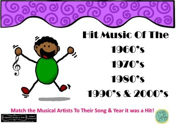 Music Group Task Hit Music 60s 70s 80s 90s 2000s Matching Activity