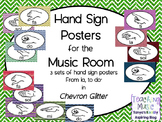 Music Hand Sign Posters - 3 Chevron Glitter Sets