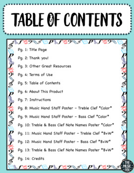 Music/Hand Staff Posters! Instant Assessment Tool & Graphic Organizer