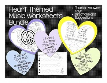 Music: Heart Themed Music Worksheet Bundle