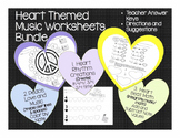 Music: Heart Themed Music Worksheet Bundle