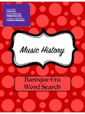Music History Baroque Music Word Search