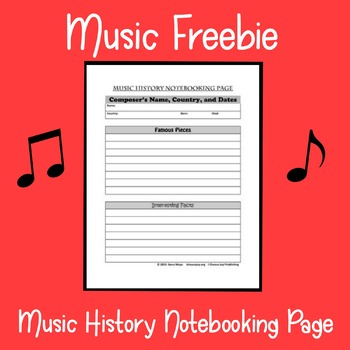 Music History Notebooking Page