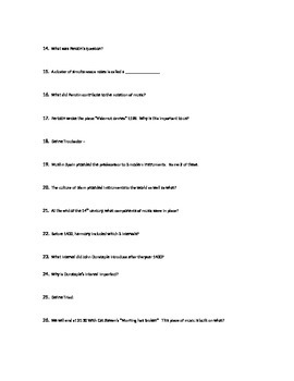 Music History Sub Activity Goodall's Story of Music worksheet discovery 1