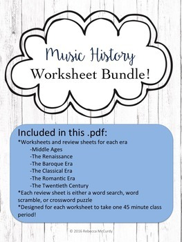 Music History Worksheets and Review Sheets BUNDLE! All 6 Eras included!