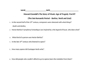 Music History part 4~ Sub plans, a word wall. Video Study guide;