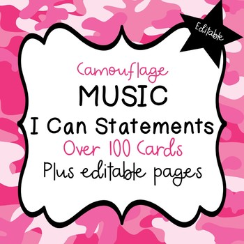 """Music """"I Can"""" Statements (Camo) - Editable!"""