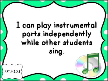 Music I Can Statements Grade 3,4 and ,5  Michigan Standards