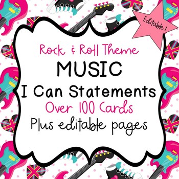 """Music """"I Can"""" Statements (Rock and Roll Theme) - Editable!"""
