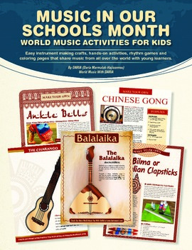 Music In Our Schools Month - E-book With 12 Musical Crafts and 8 Coloring Pages