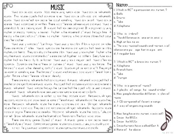 Music Informational & Nonfiction Text & Comprehension