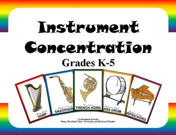 Music Instrument Concentration/Memory Game