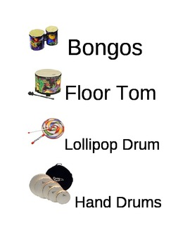 Music Instrument Picture Labels