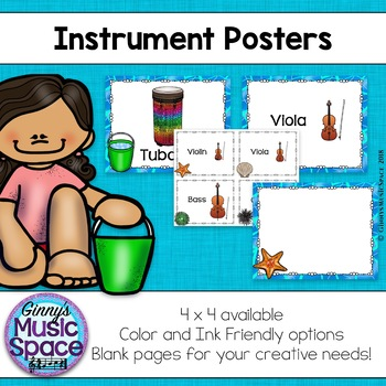 Music Instrument Posters {Ocean Themed}