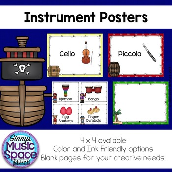 Music Instrument Posters {Pirate Theme}