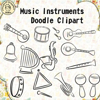 Music Instruments Doodle Clipart