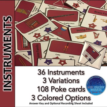 Music Instruments Poke Cards