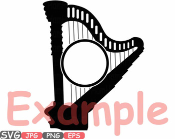 Music Instruments Split Circle Frame clipart accordion Violin trumpet harp -613s