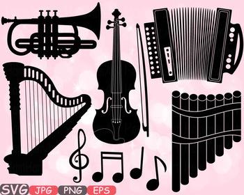 Music Instruments clipart panpipe accordion trumpet harp Violin SVG design -592s