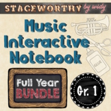 Music Interactive Notebook - Grade 1 Music Full Year Bundle (12 lessons)