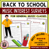 Back to School Music Interest Surveys - General Music Classes
