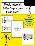 Music Intervals and Key Signatures Flash Cards