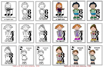 Music Kidlettes: Notes, Signs, & Symbols, Matching Game - BUNDLE (COLOR & B/W)