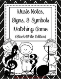 Music Kidlettes: Notes, Signs, & Symbols, Matching Game - B/W EDITION