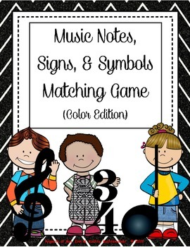 Music Kidlettes: Notes, Signs, & Symbols, Matching Game - COLOR EDITION