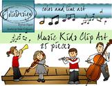 Music Kids Clip Art - Color and Line Art 25 pc set