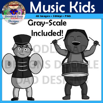 Music Kids Clip Art (Guitar, Cymbals, Accordion, Trumpet, Marching Band)