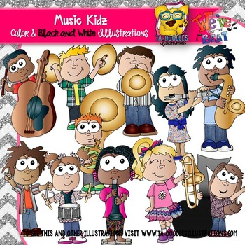 Music Kids Holding Instruments Clipart
