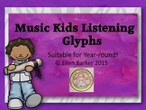 Music Kids Listening Glyphs