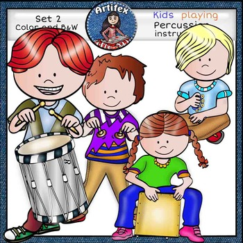 Music Kids-Percussion Clip Art set2 -Color and B&W-