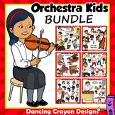 Music Kids Playing Instruments of the Orchestra Clip Art BUNDLE