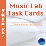 Music Lab Task Cards | Note Reading Edition | Editable and