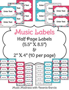 Music Labels (2 sizes) - Editable