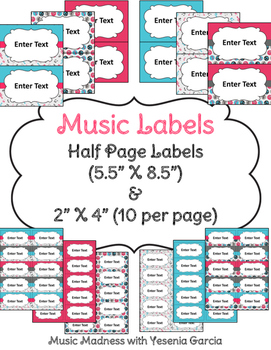 Music Labels (2 sizes) - Editable