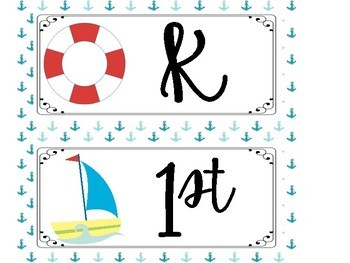 Music Learning Target Signs - Nautical Theme