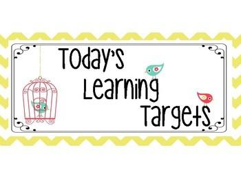 Music Learning Target Signs - Yellow Chevron Bird Theme