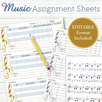 Editable Music Lesson Assignment Sheets