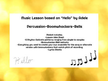 Music Lesson: Hello (Adele) Boomwhacker/Bell Percussion Ensemble