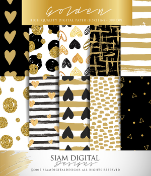 Gold, Black and White Digital Paper