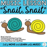 """Music Lesson Unit """"Snail, Snail"""" Kodaly Game Song, Activities, Flash Cards K-2"""