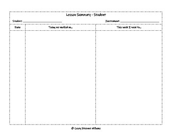 Music Lesson Summary Sheets
