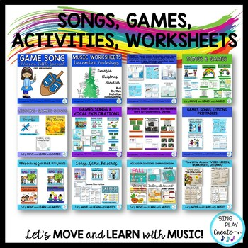 Music Lesson Year Long Bundle: Songs, Games, Activities, Worksheets, Mp3's K-6