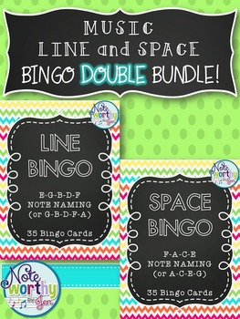 Music Line and Space Bingo DOUBLE BUNDLE {Treble or Bass Clef}