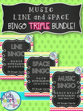Music Line & Space Bingo TRIPLE BUNDLE {Treble or Bass Clef}